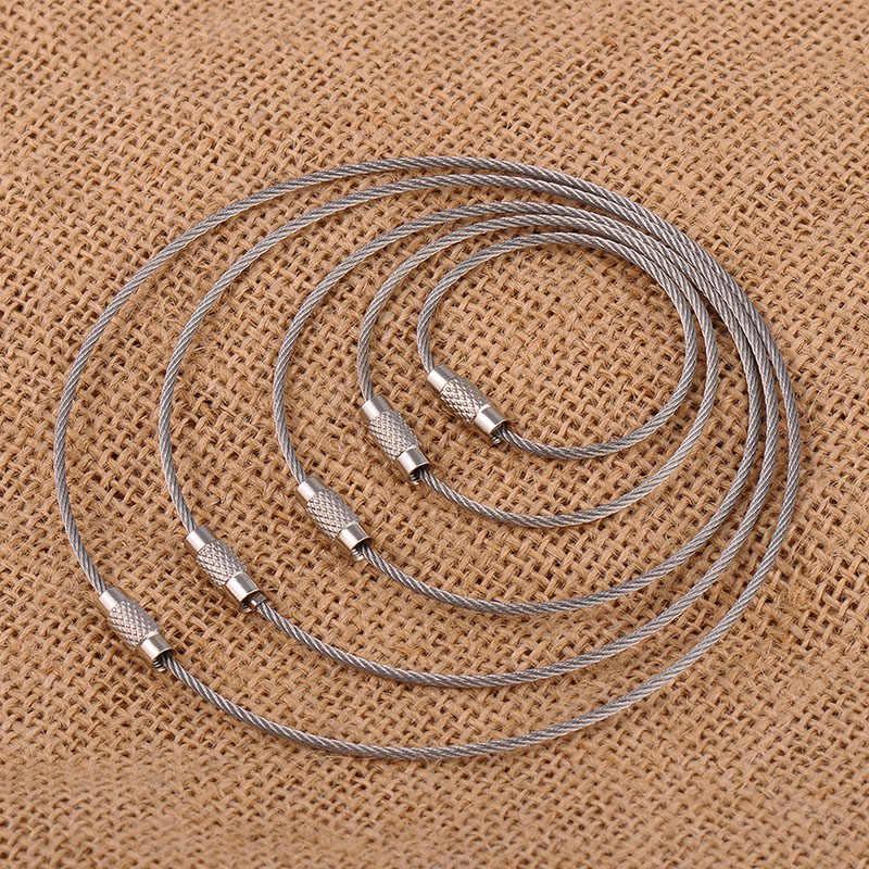Pçs/lote 2 Chaveiro chave anel fivela Parafuso de bloqueio da corda de Fio de alta qualidade em aço inoxidável
