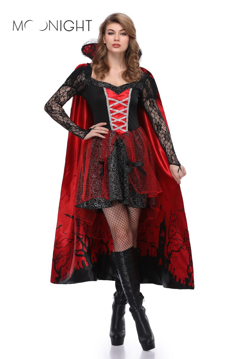 MOONIGHT New Dress Uniforms Queen Witch Witchcraft Costume Halloween Costume Party Dress