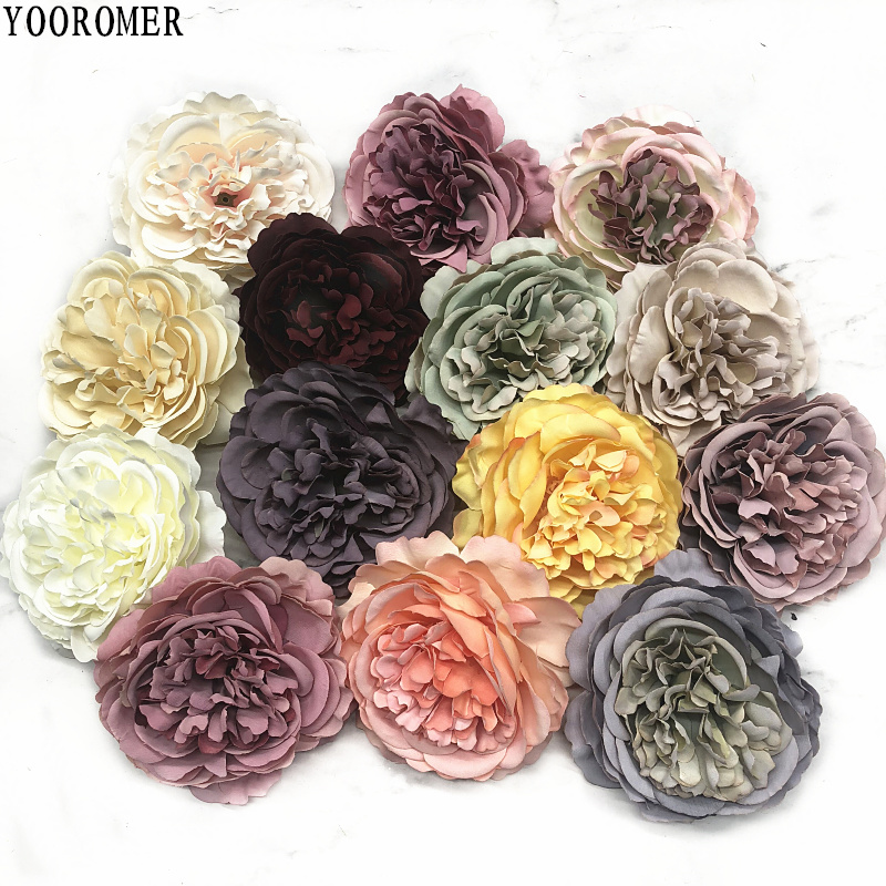 YOOROMER 5pieces 8cm Peony flower head silk Artificial Flowers For Wedding Decoration DIY Decorative Wreath Fake Flowe