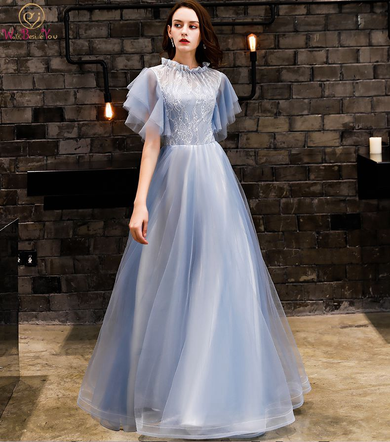 Walk Beside You Blue   Prom     Dresses   2018 Short Sleeves A-line Lace Tulle Long Floor Length Evening Gowns Vestidos Largo De Baile