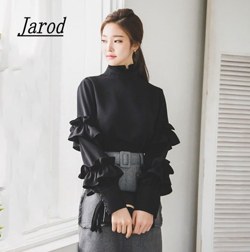 New 2018 Spring Autumn Women Blouse Ladies Black Office Work Wear Fashion Elegant Ruffles Long Sleeve Shirt In Blouses Shirts From Womens Clothing