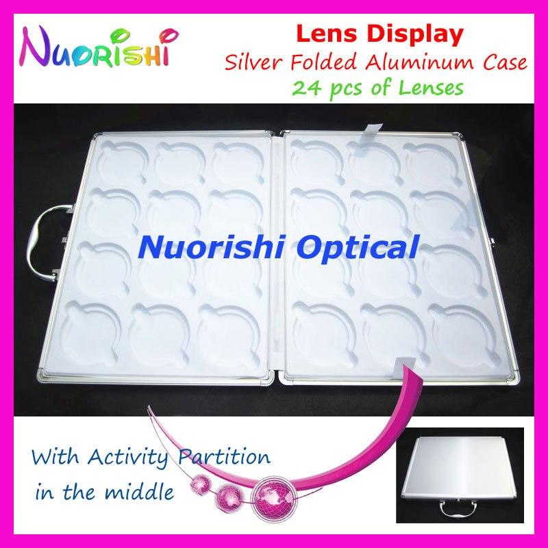 Portable Silver Aluminum 24pcs Optical Lens Lenses Sample Display Suitcase Case With Activity Partition D010 24