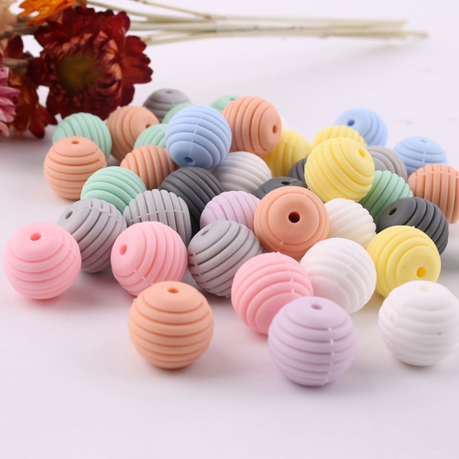 10pcs Baby Teether Thread Food Grade Silicone Beads Baby Silicone Teethers Tiny Rod Spiral Beads DIY Pacifier Chain Pendant