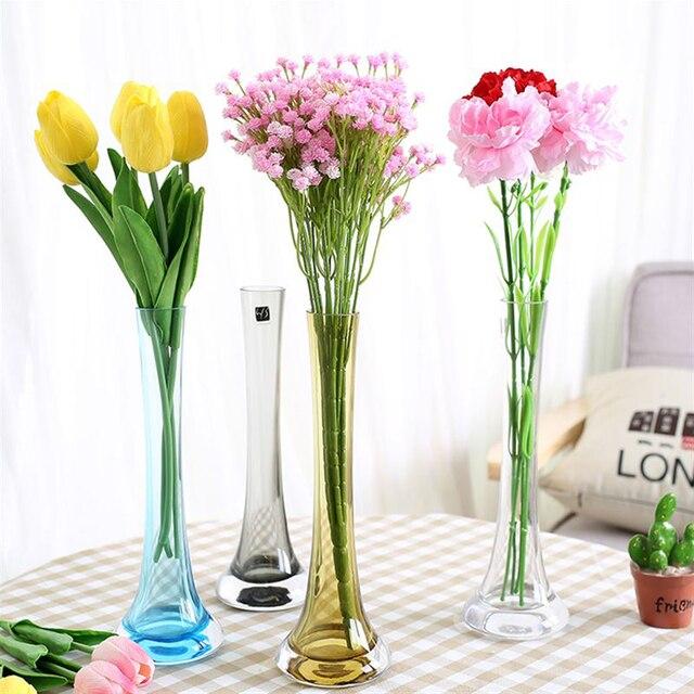 Moderne Kreative Bunte Glas Vase Eisen Turm Vase Glasmalerei Transparent Vasen Home Hochzeit Dekoration Vase In Moderne Kreative Bunte Glas Vase Eisen