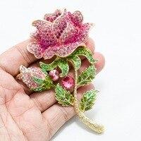 Новые Украшенные стразами Большой розы листья бутон брошь Булавки Броши для женщины ювелирные изделия Бесплатная доставка fa5068