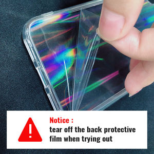 Image 2 - Funda transparente con gradiente de láser arcoíris para iPhone X, XS, Max, XR, 11, XR, 6S, 7, 8 Plus, 12, cubiertas acrílicas transparentes