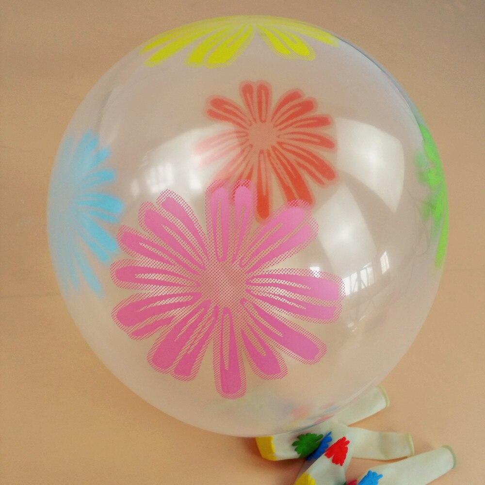 30 unids/lote 12 pulgadas globo transparente colorida impresión de la flor de gl