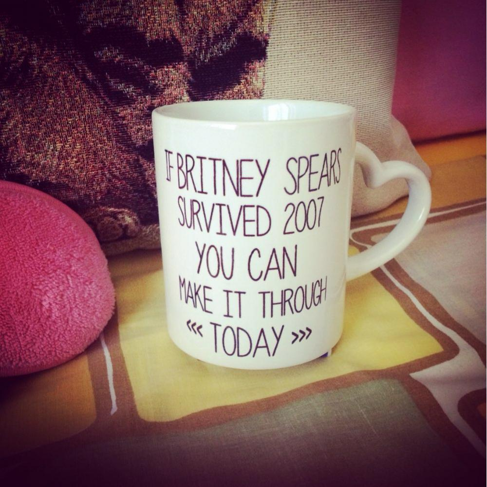 If Britney Spears Survived 2007 <font><b>You</b></font> <font><b>Can</b></font> Make it Through Today offee mugs design tea mugen decal <font><b>cups</b></font> Perfect Gifts <font><b>drink</b></font> mug