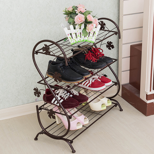 S Type Shoe Shelf Four Layers Room Floor Multi Layer Simple Shoe Rack  Storage Metal