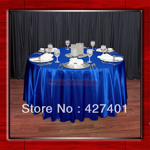 Hot Sale Royal Blue Shaped Poly Satin Table Cloth Wedding Meeting Party  Round Tablecloths/Table