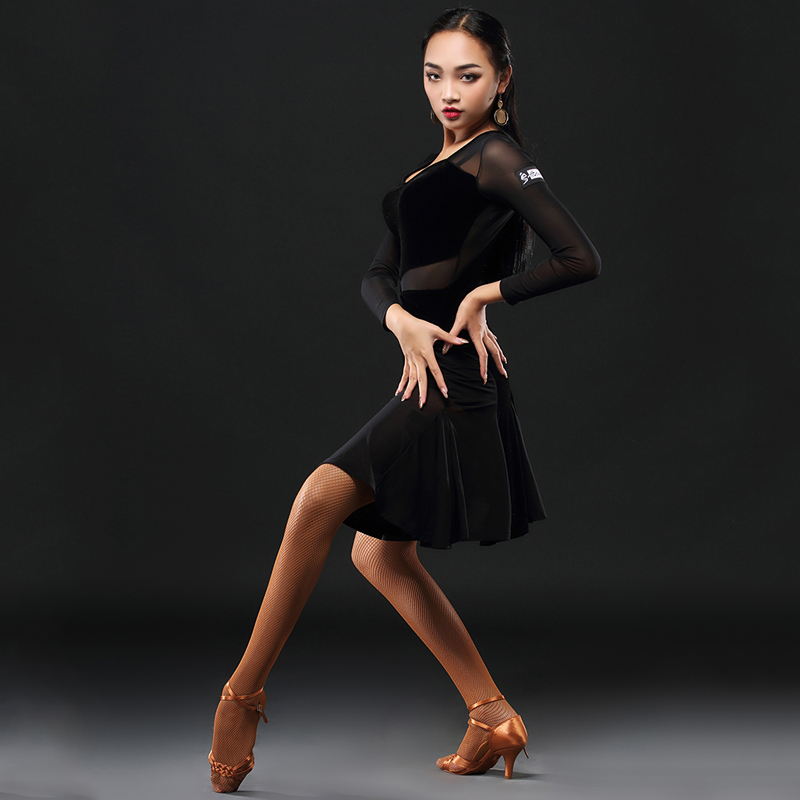 2019 Latin Dance Dress Women Net Skirt Salsa Dress Tango Rumba  Adult Ballroom Latin Dance Competition Costumes DQS1205