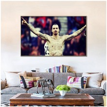цена PSG Zlatan Ibrahimovic Canvas Art Wall Painting Football Posters And Prints Wall Pictures For Living Room Decoration онлайн в 2017 году