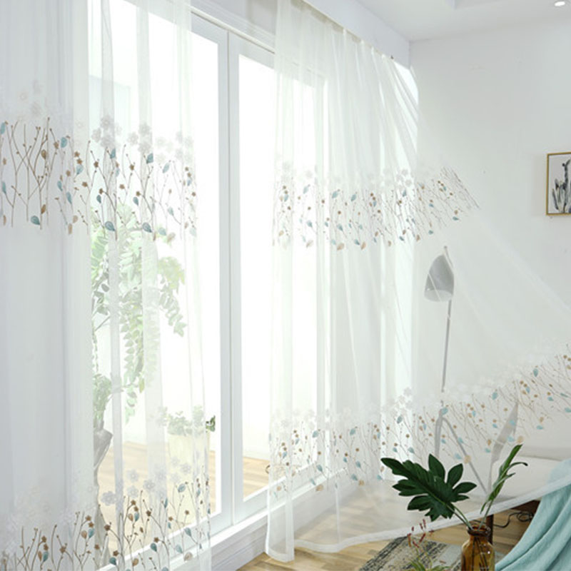{byetee} Flower Embroidery Decorative Voile White Color Curtain Drape For Living Room Window Curtain Sheer Tulle Ready Made
