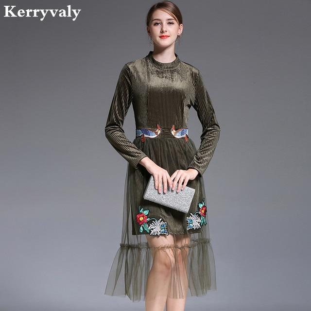 97e2691181e9 US $27.44 18% OFF|Winter Armee Grün Floral Bestickten Samt Kleid Designer  Kleider Runway 2019 Hohe Qualität Eam Rockabilly Frauen Kleid K6135 in ...