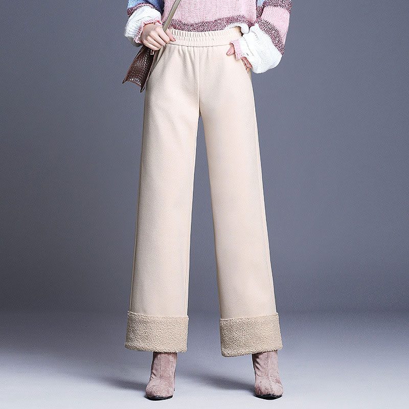HEE GRAND Wool Trousers Women Wide Leg Pants 2018 Winter OL Ankle Length Pant Ladies Elastic Waist Quality Loose Trousers WKX471