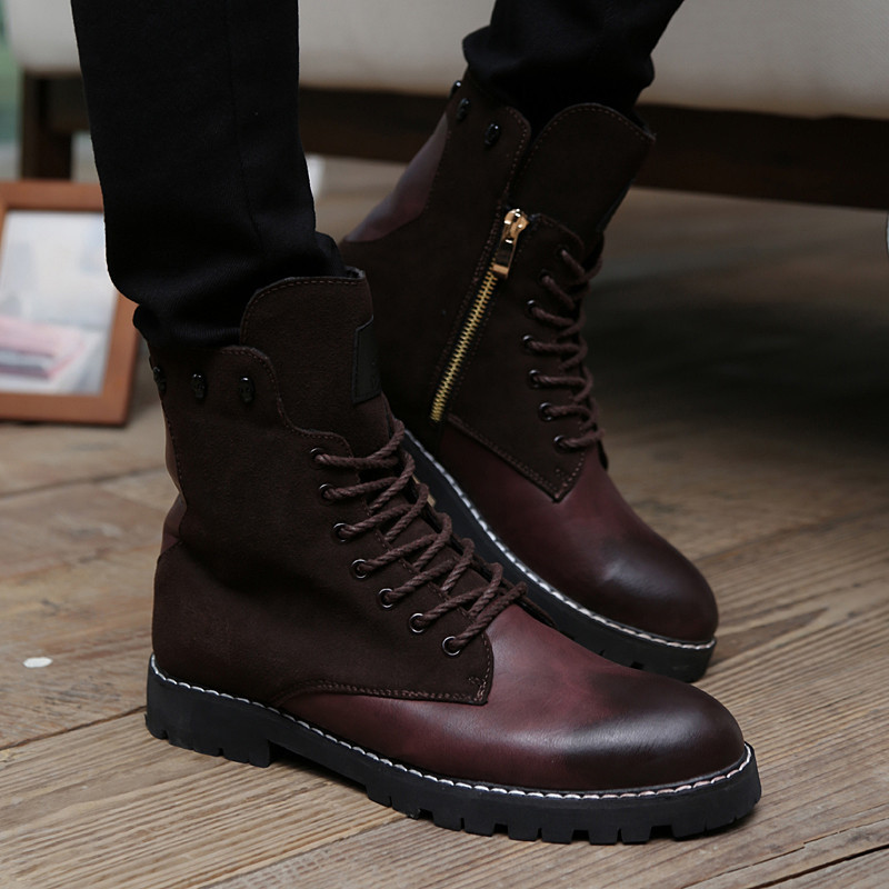 a82605f8d827 Brand Designer High Top Zipper Square Heel Men Fashion Motorcycle Boots  Lace Up Combat Martin Shoes Vintage Punk Gladiator Boots-in Motorcycle boots  from ...