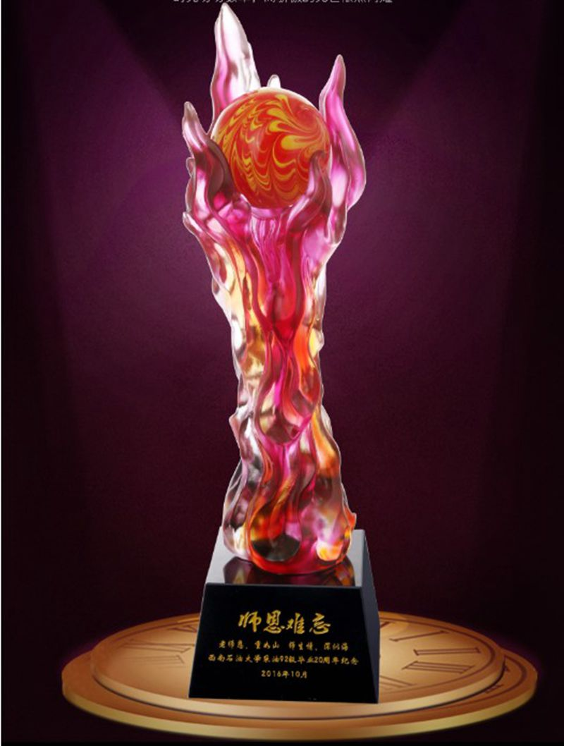 Top Quality!Flame Glass Trophy Steaming Day Trophy Gift Souvenir,Free Shipping