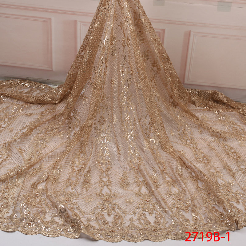 High Quality African Lace Fabric Nice French Sequins Tulle Lace Fabric With Beads For Nigerian Party Dress Silver KS2719B-1