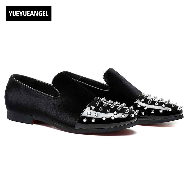 Punk Style 2018 New Black Rivet Men Handmade Loafers Fashion Party Banquet Men Leather Casual Shoes Slippers Males Flats Slip On hot sale mens italian style flat shoes genuine leather handmade men casual flats top quality oxford shoes men leather shoes