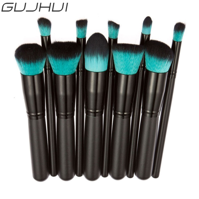 GUJHUI Professional 10Pcs Makeup Brush Set Powder Foundation Brush Eyebrow Eyeshadow Cosmetic Tools Toiletry Kit Blue new lcbox professional 16 pcs makeup brush set kit pouch bag cosmetic brush kit cosmetic powder foundation eyeshadow brush tools