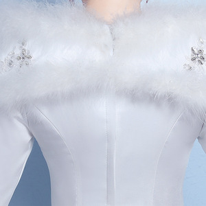 Image 5 - VLNUO NISA 긴 소매 겨울 웨딩 드레스와 목도리 레이스 Appliques 스팽글 보이지 않는 지퍼 신부 가운 Vestido De Novias 20