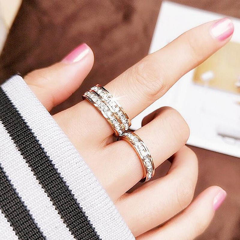 HIP Hop 1Pc Square zircon stainless steel ring 4mm8mm single row double Bling For Women Men Jewelry Dropshiping Couple gift