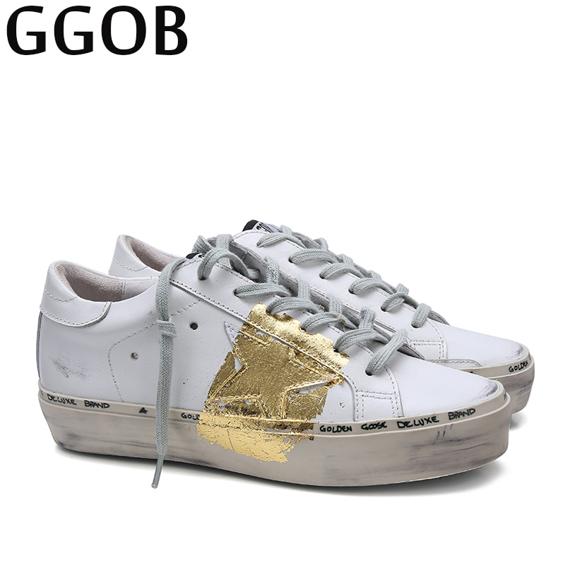 GGOB 2018 Womens Flats Female Casual Shoes Outdoor Walking Classics Plus Size Genuine Leather White Gold Woman Brand Flat With ggob womens sandals platform casual shoes outdoor walking classics fashion element hairy slippers flat sandals ladies white