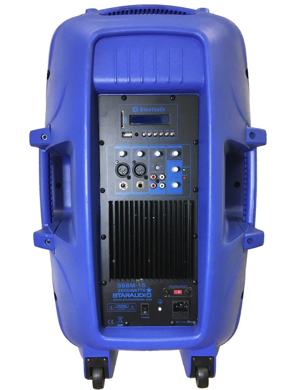 STARAUDIO Blue 15 3500W Power Active PA DJ Stage KTV Speaker with 2CH UHF Wireless Mics 1 Stand 1 Wired Mic SSBM-15RGB