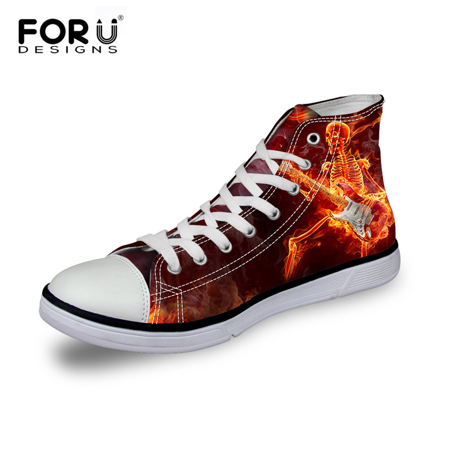 ad40c9e35d29 FORUDESIGNS 2018 Autumn Men s Casual High Top Flats Canvas Shoes Cool Fire  Punk Skull Custom Design Man Lace up Vulcanize Shoes-in Men s Vulcanize  Shoes ...