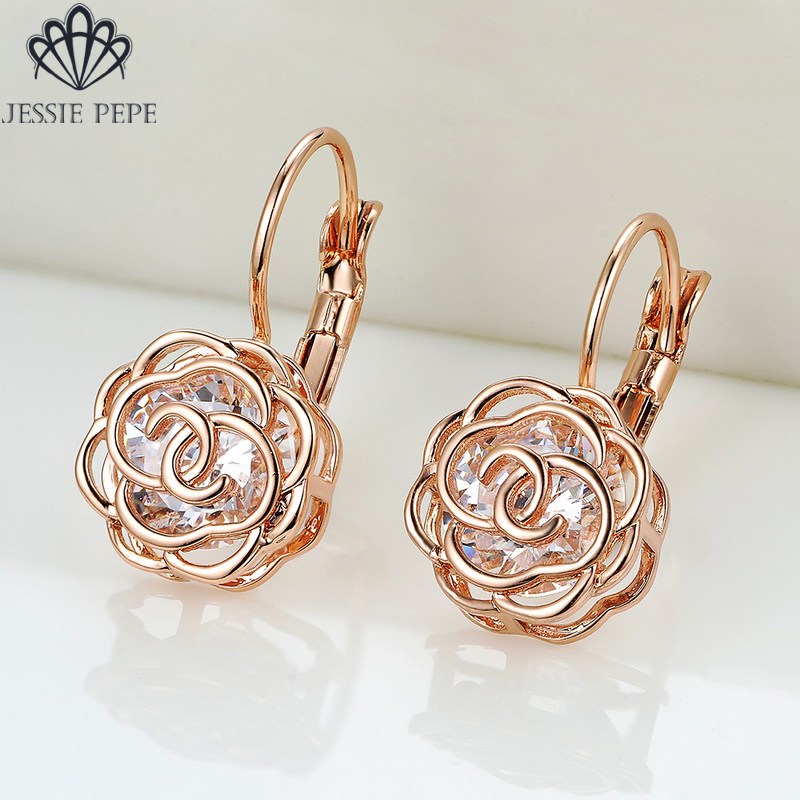 Jessie Pepe Italina Rigant Elegant Rose Flower Earrings Brincos 18KGP Rose Gold Color With  Alloy Anti-Allergy #JP86713