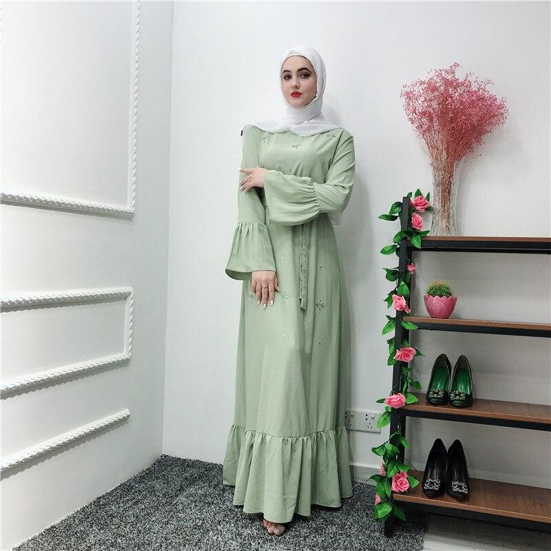 Elegant Muslim Abaya Beading Full Dresses Cardigan Diamond KimonoLong Robe Gowns Jubah Middle East Eid Ramadan Islamic Prayer