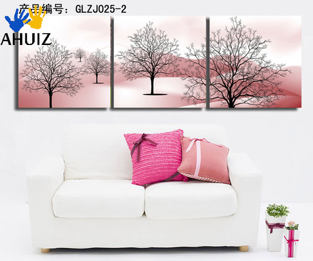 Abstract modern tree 3 pieces canvas wall art painting sets on ...