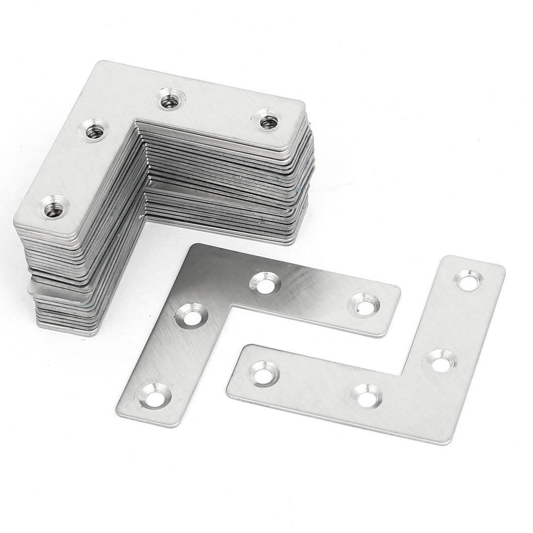 30pcs Stainless Steel Angle Plate Corner Brace 50mmx50mmx1mm L Shaped Flat Fixing Mending Repair Plates Brackets Repair Bracket