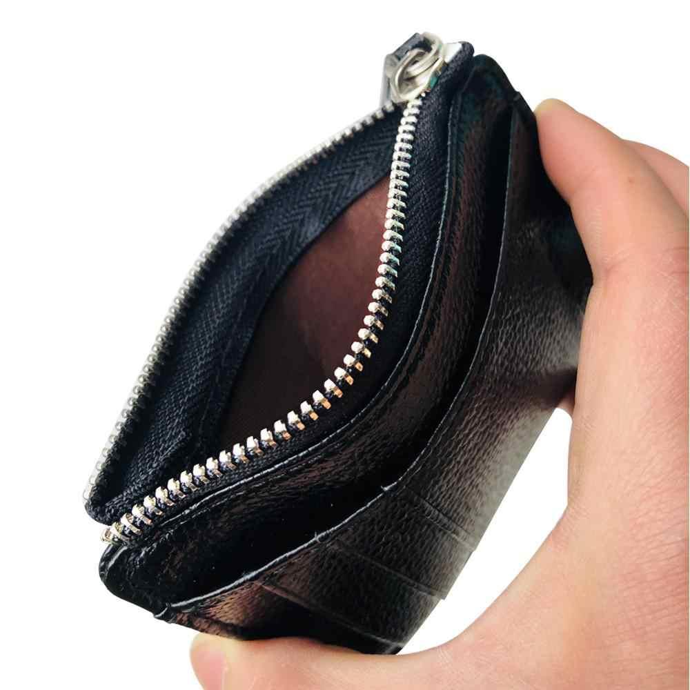 Для мужчин Для женщин Мини футляры для идентификационных карт Бизнес кредитной держатель для карт из искусственной кожи тонкий чехол для банковских карт, кошелек, органайзер, на молнии