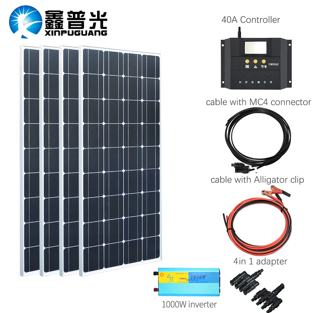 4pcs 100w Solar Panel Kits System+40a Controller For Boat Camping House Roof Use Home Improvement Home & Garden