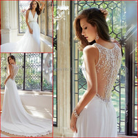 Luxury Wedding Gown With Pearls Beaded Sexy V Neckline Garden Court Train Cheap Flowing Casual Chiffon