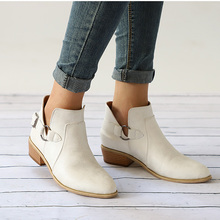 купить Ankle Boots Women Boots Thick Heel Boots PU Leather Boots Winter Shoes Buckle Female Winter Boots Bota Women Booties Botas Mujer дешево