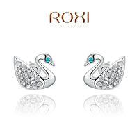 ROXI Earring Fine Jewelry Stud earrings Earing Brinco 925 Sterling silver Fashion Jewelry Multi-Color CZ Austrian Crystal