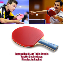 1x Top quality 8 Star Table Tennis Racket Double Face Pimples-in Racket Rubber loop Bat Boll 8006 with Bag free shipping