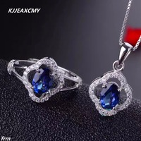 KJJEAXCMY Fine jewelry Natural Topaz Set wholesale send chain 925 sterling silver live mouth Tanzanite Topaz color coating