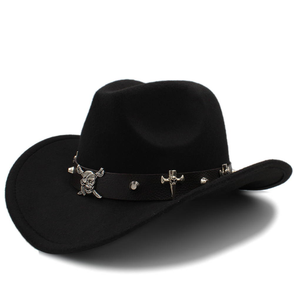 7d4c19381e994 Lana mujeres hueco Sombrero de vaquero occidental pirata correa de cuero  Señora Reina Jazz Montana Sombrero Hombre Cap tamaño 56 58 cm en Las mujeres  ...