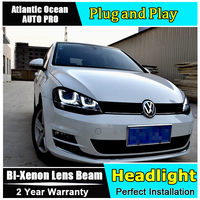 AUTO PRO For Vw Golf 7 Headlights Double U Angel Eyes DRL For Vw Golf 7