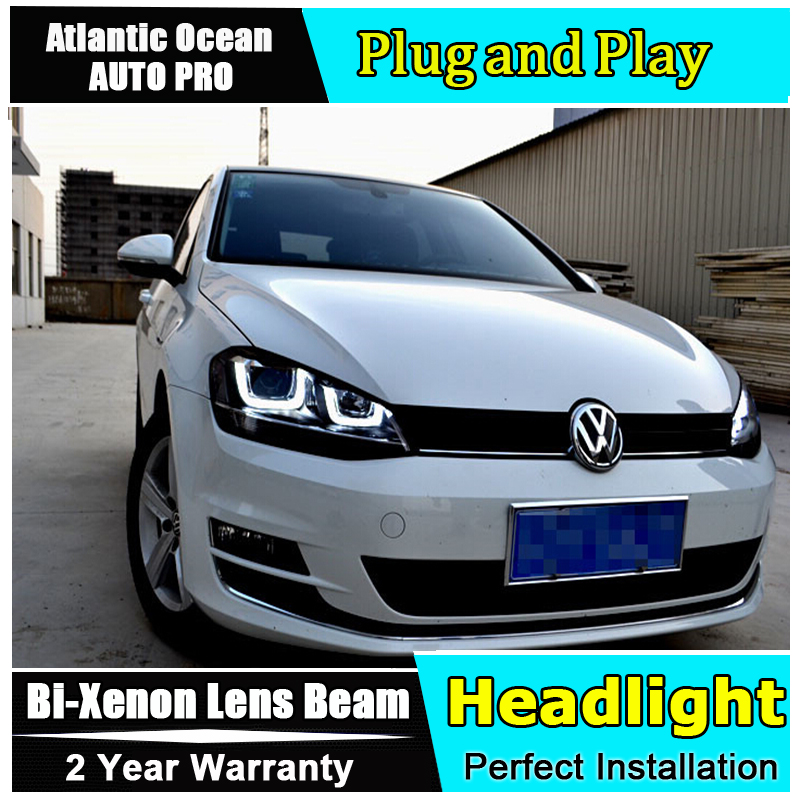 AUTO.PRO For vw golf 7 headlights Double U Angel Eyes DRL For vw golf 7 car styling H7 Bi-xenon Double lens parking LED light gu led headlights for vw volkswagen golf 6 mk6 2010 2014 uu type drl led headlights demon eyes