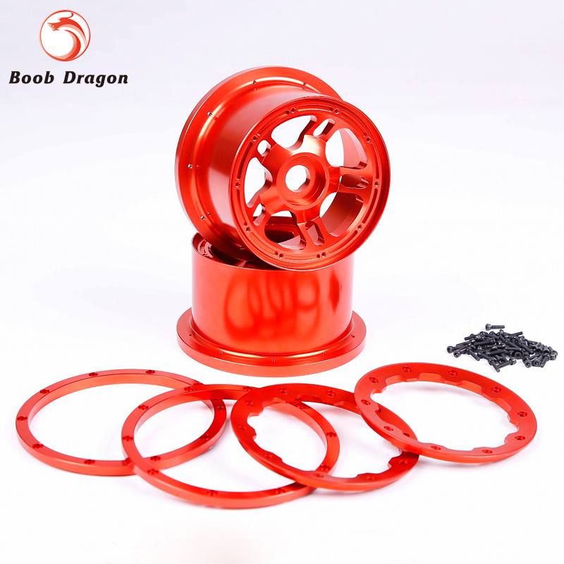 Baja CNC Alloy Rear Wheel Hub With Alloy Beadlock for 1/5 HPI Baja 5B SS Rovan King Motor gtbracing 2 front and 2 rear wheel hub rim with beadlock ring for 1 5 losi 5ive t rovan lt km x2