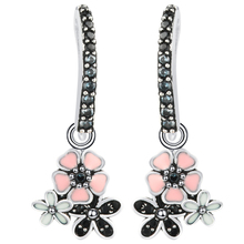 Hot sale Fashion hoop earrings Fine Jewelry Colorful Flowers Original Silver Color charming Earrings For Women