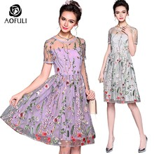 72728734ebc AOFULI S- 5XL Runway Sicily Flowers Embroidery Party Dress Brand Plus Size  See-Through