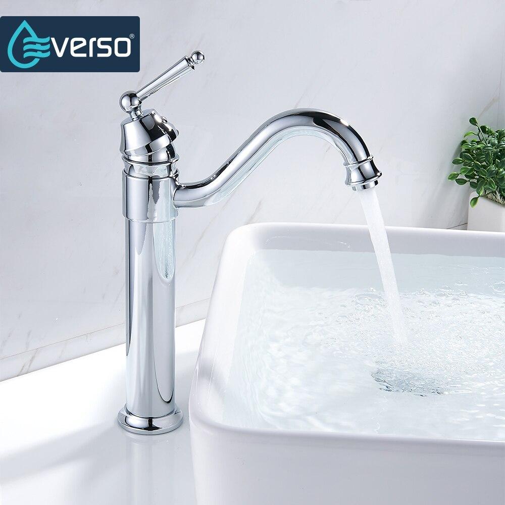EVERSO Kitchen Faucets 360 Swivel Antique Brass Single Porcelain Handle Mixer Tap Bathroom Basin Mixer Hot