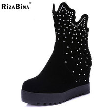 RizaBina women height increasing glitter half short boot  warm plush winter mid calf snow boots footwear shoes P21952 size 34-43