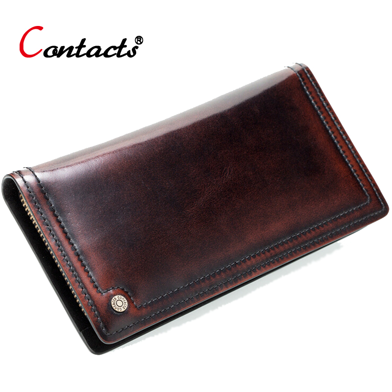 CONTACT'S Genuine leather men wallets High Quality Vintage long wallet large capacity short purses card holder money bag large capacity card id holders genuine leather package cluch bag new men s leather wallet fashion leisure leather wallet