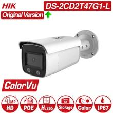 Hikvision ColorVu Original IP Camera DS-2CD2T47G1-L 4MP Network Dome POE IP Camera H.265 CCTV Camera SD Card Slot hikvision original english vesion ds 2cd4585f iz 8mp poe 4k smart outdoor dome camera motorized ip66 1k10 40m cctv camera